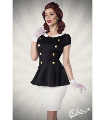 Kleid mit Bubikragen schwarz/weiß - AT50023