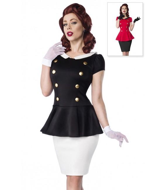 Kleid mit Bubikragen und Rundhalsausschnitt im Retro-Look von Belsira schwarz/weiß