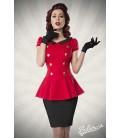 Kleid mit Bubikragen rot/schwarz - AT50023