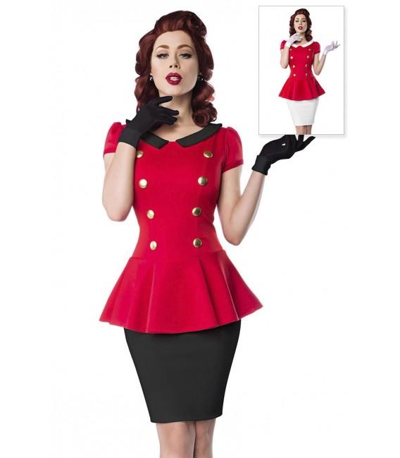Kleid mit Bubikragen und Rundhalsausschnitt im Retro-Look von Belsira rot/schwarz