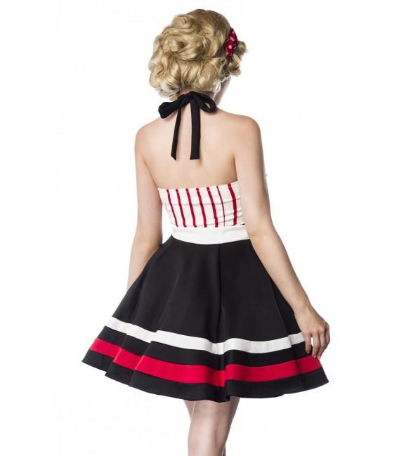 Neckholder-Kleid von Belsira schwarz/rot/weiß
