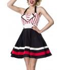 Neckholder-Kleid schwarz/rot/weiß - AT50024