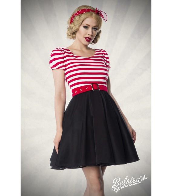 Jersey Kleid mit Tellerrock, kurzen Puffärmelchen und Rundhalsausschnitt von Belsira schwarz/weiß/rot