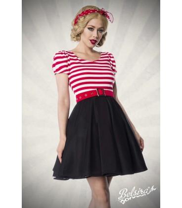Jersey Kleid schwarz/weiß/rot - AT50025