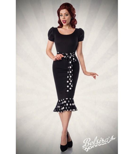 Jersey-Kleid mit Puffärmeln und großzügiger Rundhalsausschnitt von Belsira