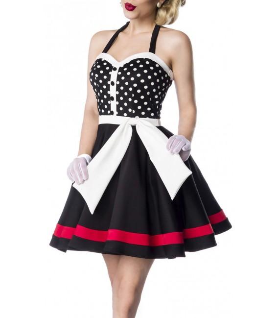 Retro-Neckholder Kleid von Belsira schwarz/weiß/rot