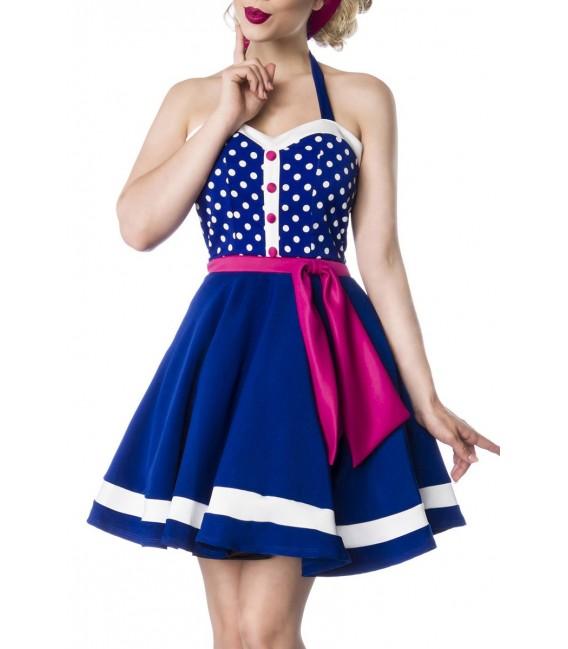 Retro-Neckholder Kleid von Belsira blau/rosa/weiß