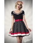 Kleid mit Gürtel schwarz/weiß/rot - AT50031