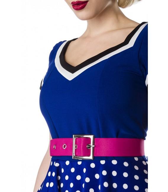 Retrokleid mit Gürtel, Tellerrock und V-Ausschnitt von Belsira blau/rosa/weiß