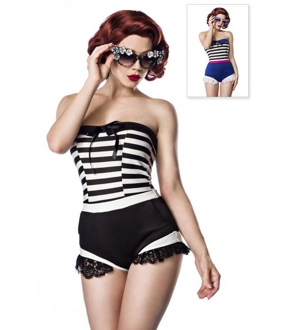 Jersey Body mit Rüschenbesatz von Belsira im trendigen Retro Look schwarz/weiß