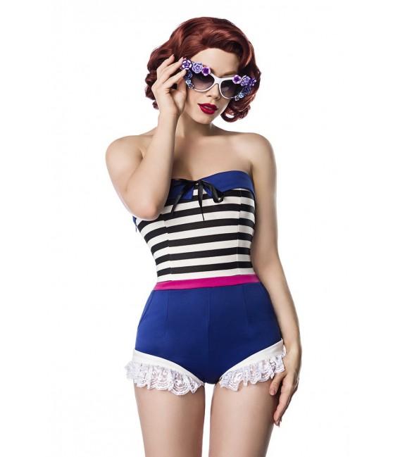 Jersey Body mit Rüschenbesatz von Belsira im trendigen Retro Look blau/rosa/weiß