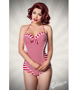 Neckholder Badeanzug rot/weiß - AT50039