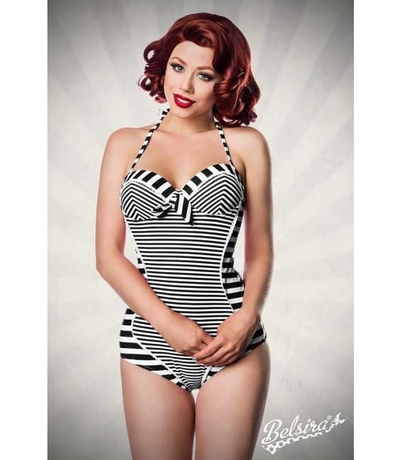 Neckholder Badeanzug von Belsira mit aufgesetzter Schleife schwarz/weiß