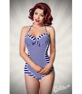 Neckholder Badeanzug blau/weiß - AT50039