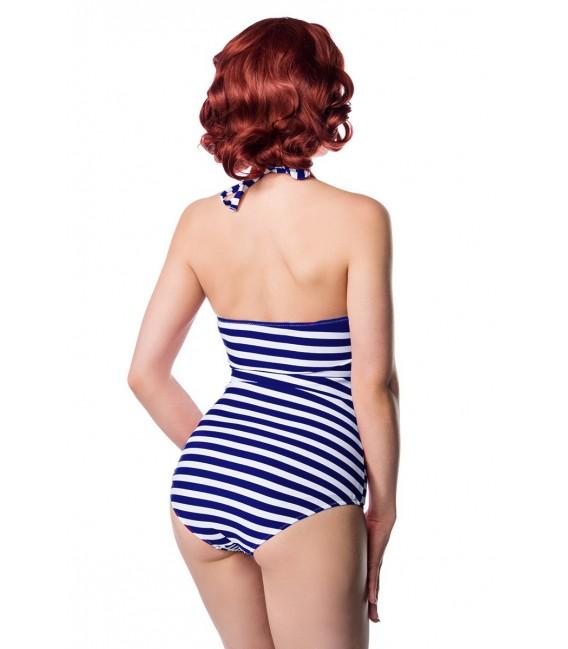 Neckholder Badeanzug von Belsira mit aufgesetzter Schleife blau/weiß