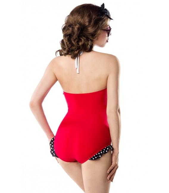 Retro Look Swimsuit von Belsira mit farblich abgesetzten Paspeln und partiell mit Pünktchenmuster