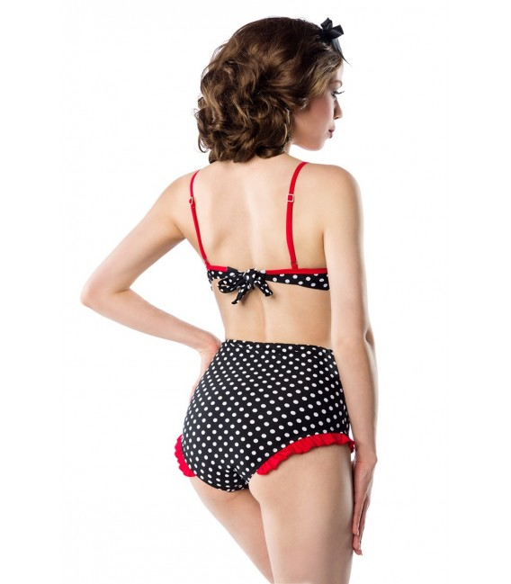 Highwaist Bikini im Retro Look von Belsira mit farblich kontrastierenden Rüschen und Paspeln