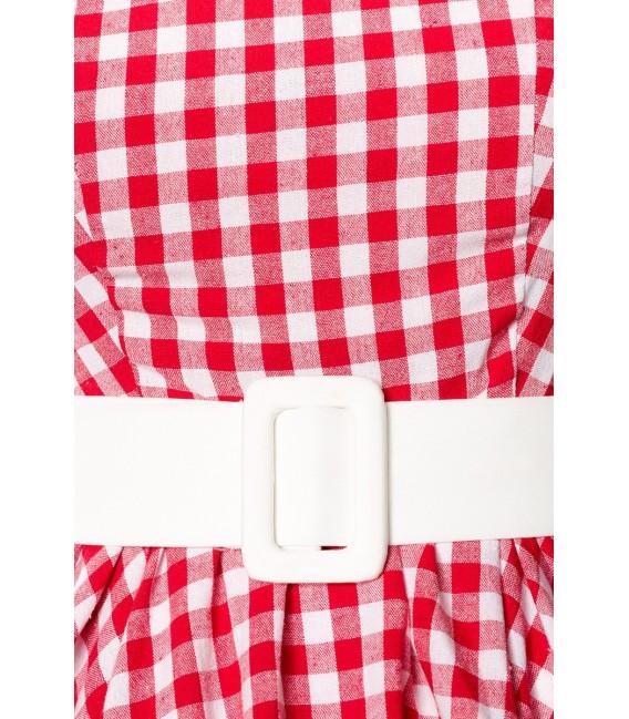 Schickes Karokleid ärmellos von Belsira mit Jerseygürtel  rot/weiß