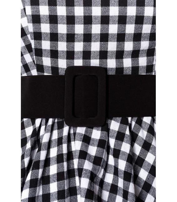 Schickes Karokleid ärmellos von Belsira mit Jerseygürtel  schwarz/weiß