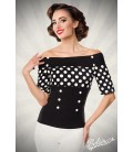 Jersey-Top schwarz/weiß/dots - AT50054