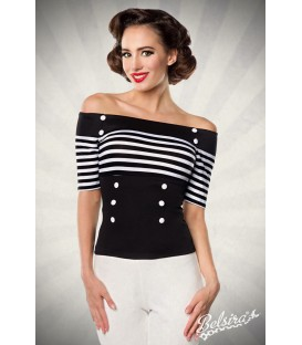 Jersey-Top schwarz/weiß/stripe - AT50054