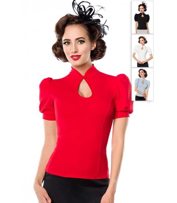 Jersey-Bluse von Belsira mit Stehkragen und einen Tropfenausschnitt rot