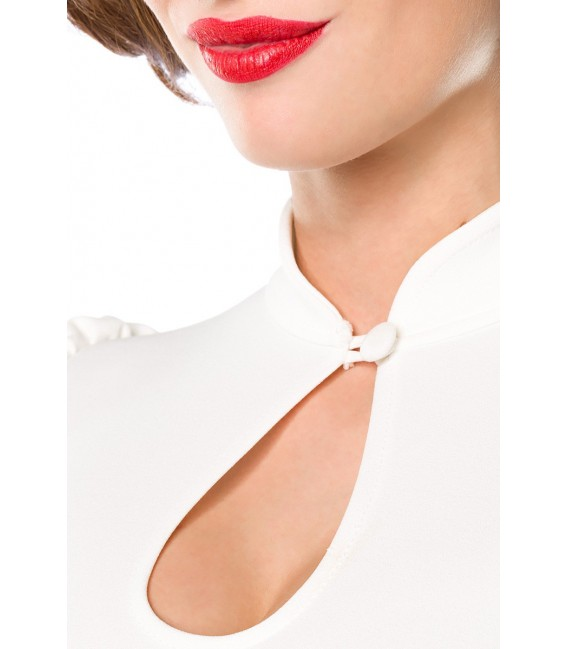 Jersey-Bluse von Belsira mit Stehkragen und einen Tropfenausschnitt weiß