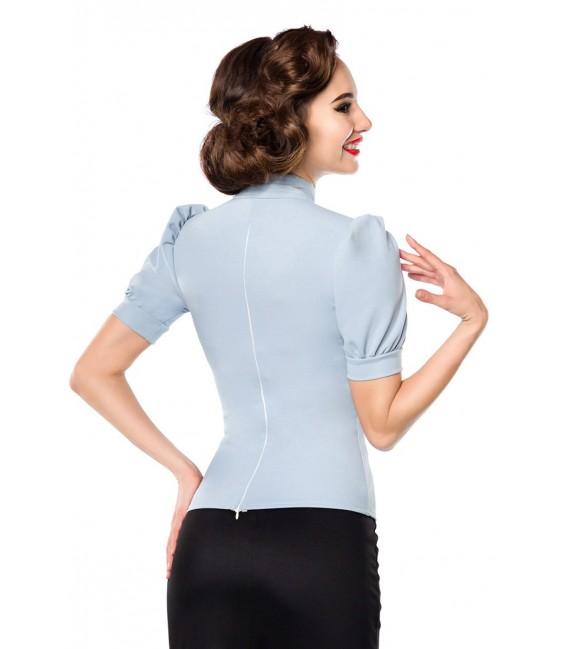 Jersey-Bluse von Belsira mit Stehkragen und einen Tropfenausschnitt hellblau