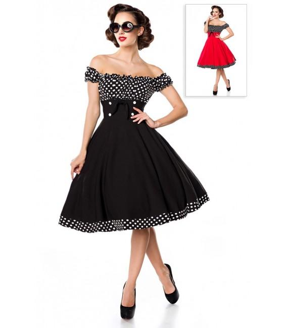 Schulterfreies Swing-Kleid mit Tellerrock von Belsira schwarz/weiß