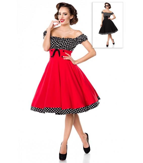 Schulterfreies Swing-Kleid mit Tellerrock von Belsira rot/schwarz/weiß