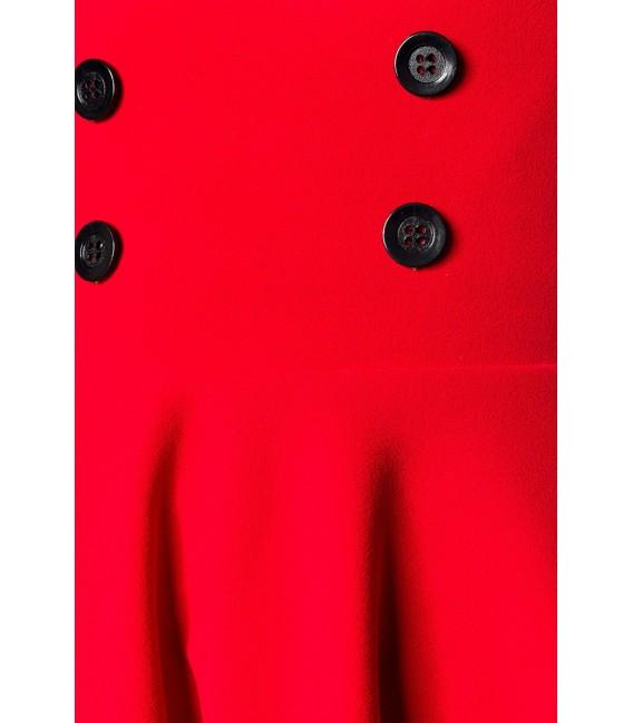 Kurzer Swing-Rock von Belsira in High Waist Optik mit extra breitem Bund rot