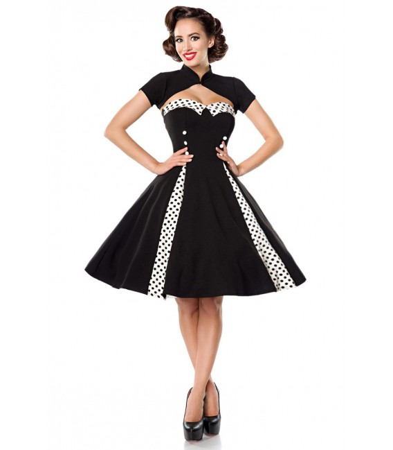 Retrokleid Trägerloses Vintage-Kleid mit Bolero von Belsira Tellerrock mit eingesetzten Godets, sowie einen herzförmigen Ausschn