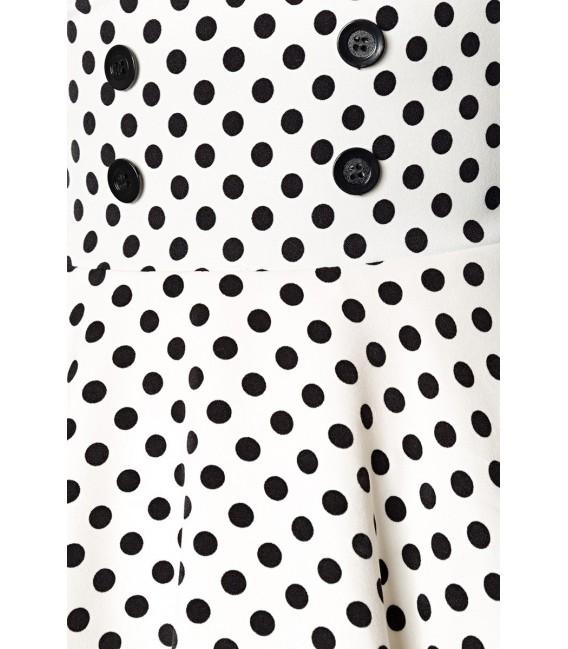 Retrorock - Knieumspielender Tellerrock in High Waist Optik mit extra breitem Bund von Belsira weiß/schwarz