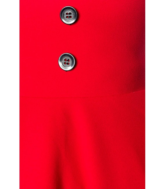 Retrorock - Knieumspielender Tellerrock in High Waist Optik mit extra breitem Bund von Belsira rot