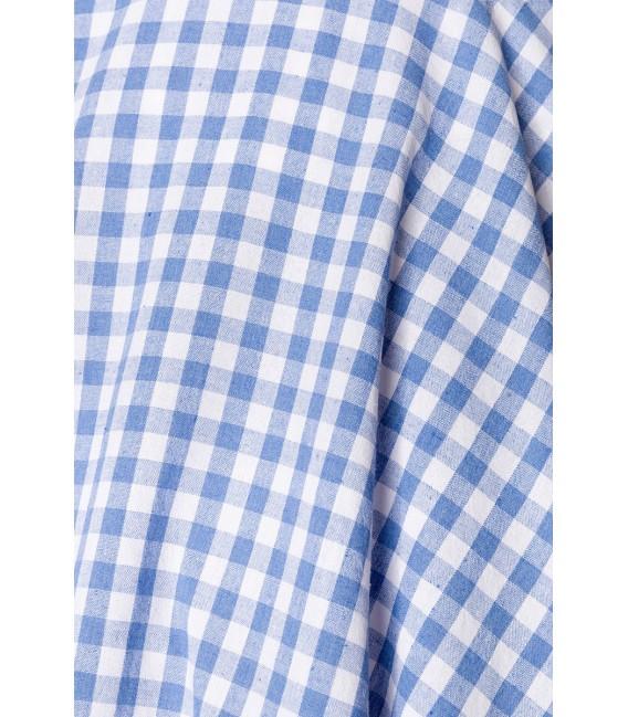 Retrorock - Knieumspielender Tellerrock mit angesetztem Bund von Belsira blau/weiß