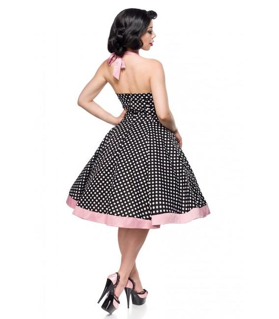 Retrokleid Vintage-Swing-Kleid aus Baumwolle von Belsira schwarz/weiß/rosa