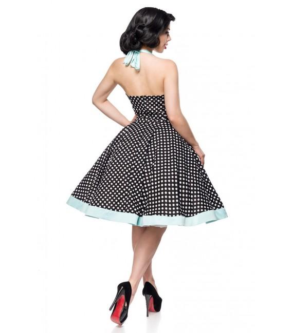 Retrokleid Vintage-Swing-Kleid aus Baumwolle von Belsira schwarz/weiß/blau