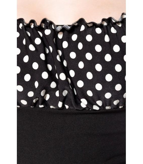 Jersey-Top mit Raffungen im Brustbereich von Belsira rot/schwarz/dots