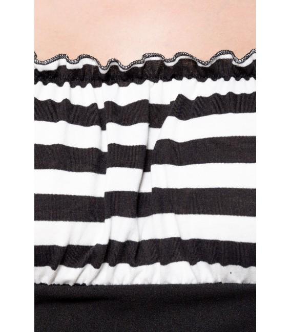 Jersey-Top mit Raffungen im Brustbereich von Belsira rot/schwarz/stripe