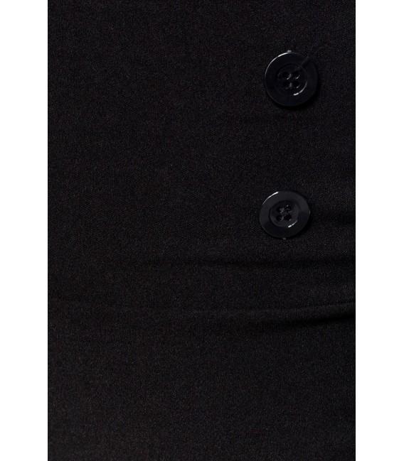 Vintagerock Kniebedeckender Bleistiftrock mit hohem Bund und dekorativen Knöpfen von Belsira schwarz