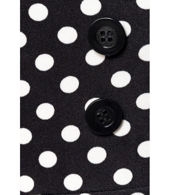 Vintagerock Kniebedeckender Bleistiftrock mit hohem Bund und dekorativen Knöpfen von Belsira schwarz/weiß