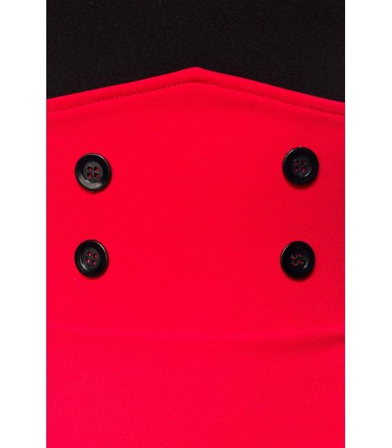 Vintagerock Kniebedeckender Bleistiftrock mit hohem Bund und dekorativen Knöpfen von Belsira rot