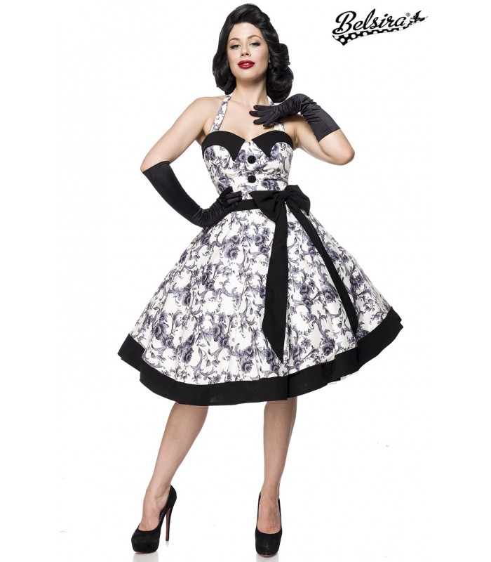 Vintage Swing Kleid schwarz/weiß - AT50089 - FashionMoon