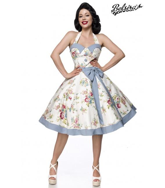 Retrokleid Vintage Swing Kleid von Belsira hat einen Tellerrock mit Saumpasse blau/rosa/weiß