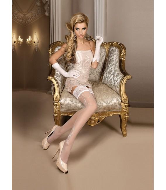 Stockings BA Art. 256 halterlose Strümpfe weiß 20den