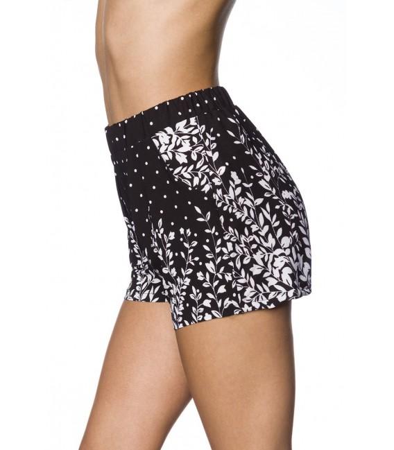 Schlupf-Shorts mit Bundfalten schwarz/weiß