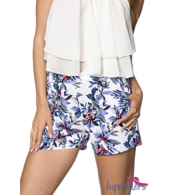 Schlupf-Shorts mit Bundfalten blau/weiß