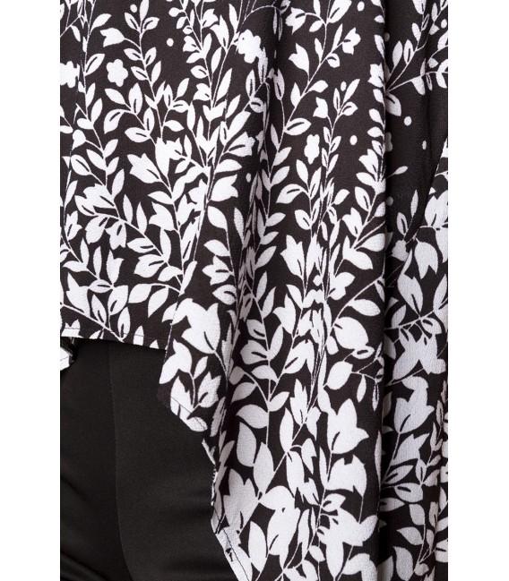 Trägertop mit Schleppe und Rundhalsausschnitt schwarz/weiß