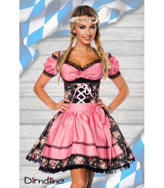 Premium Bluse & Dirndl von Dirndline aus edlem Denim mit Rosenprint und ausgestelltem Rockteil schwarz/rosa