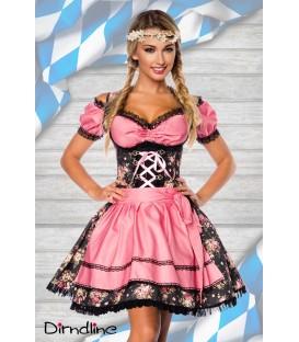 Premium Dirndl mit Bluse schwarz/rosa - AT70001